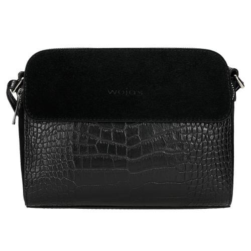 Czarna torebka damska z ozdobnym tłoczeniem 80113-71