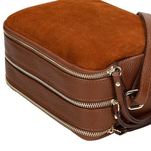 Brązowa torebka damska z dwoiny welurowej 80118-62