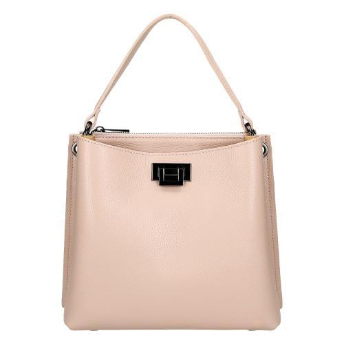 Skórzana torebka damska w kolorze jasnego różu 80016-54