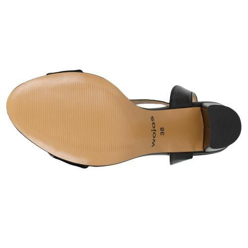 Czarne sandały damskie z ozdobnym łańcuszkiem 76076-51