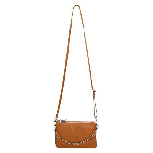 Jasnobrązowa torebka damska z ozdobnym łańcuszkiem 80117-53