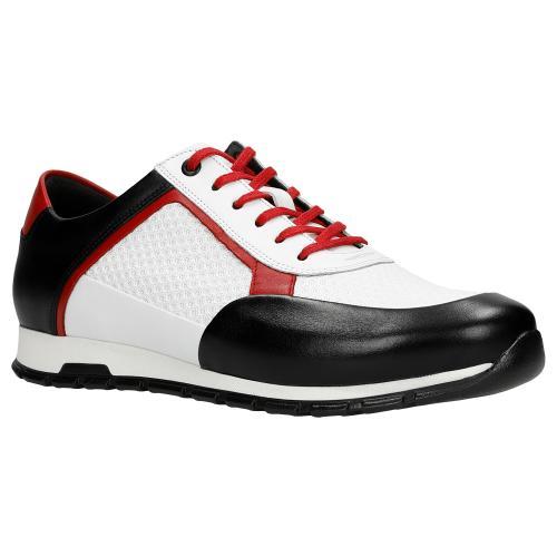 Biało-czarne sneakersy casual z czerwonymi elementami 10082-79