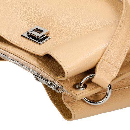 Duża beżowa torebka damska ze skóry licowej 9840-54
