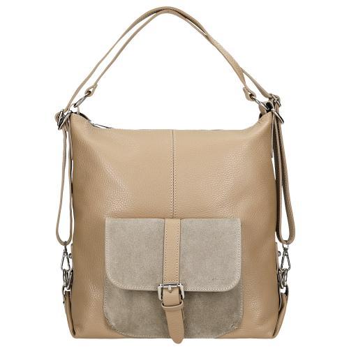 Beżowa torebka - plecak z naturalnej skóry 2w1 80021-74