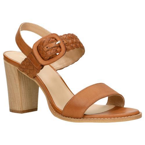 Brązowe sandały na słupku z plecionym skórzanym paskiem 76094-53