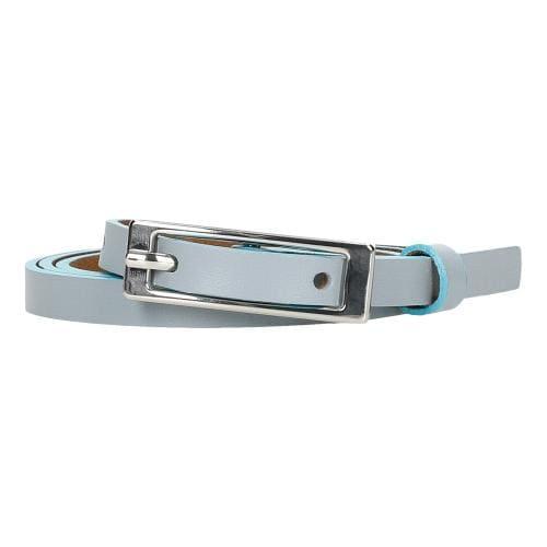Niebieski skórzany pasek damski ze srebrną klamrą 93044-56