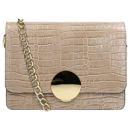 Mała beżowa torebka damska z imitacją skóry krokodyla 80124-53