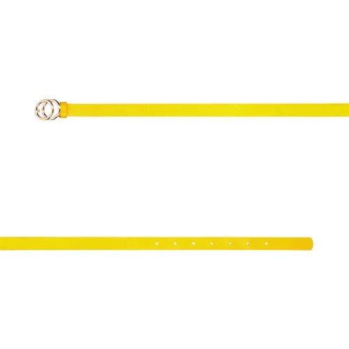 Żółty pasek damski ze złotą okrągłą klamrą 93045-58