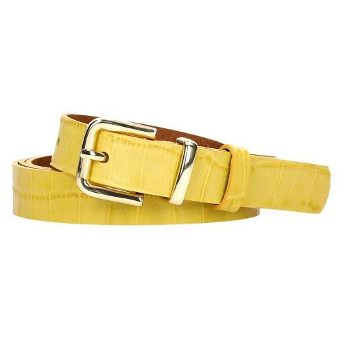 Żółty pasek damski ze zwierzęcym motywem 93053-58