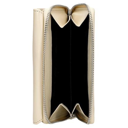 Beżowy portfel damski ze skóry licowej 91012-54