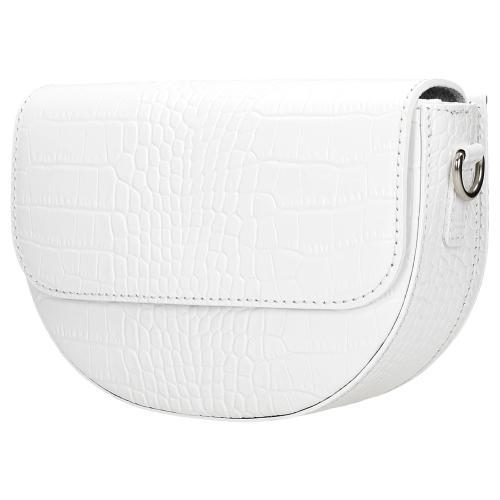 Biała skórzana torebka damska półksiężyc  80065-59