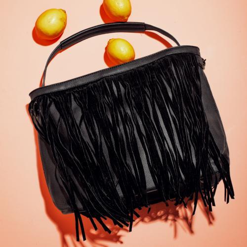 WJS czarna torebka damska z frędzlami WJS76025-51