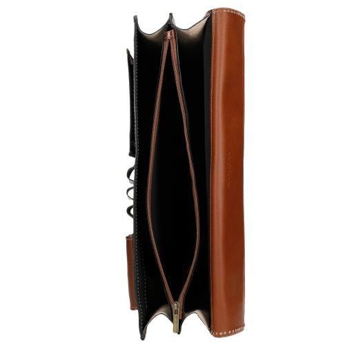 Brązowa teczka męska z gładkiej skóry 90005-52