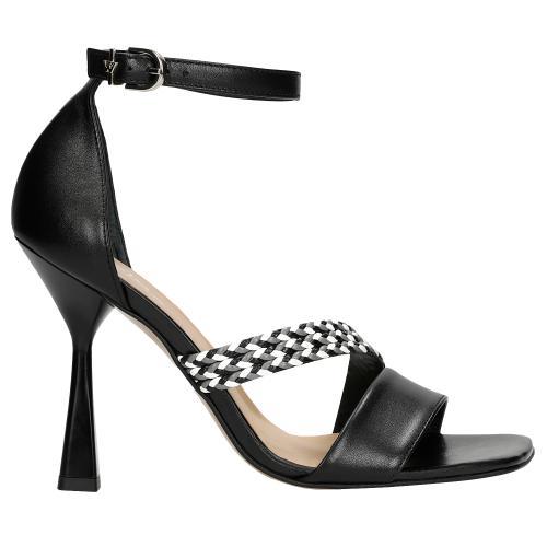 Czarne sandały damskie na szpilce z ozdobnym plecionym paskiem 76090-51
