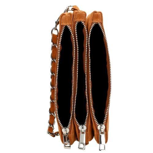 Jasnobrązowa torebka damska z ozdobnym łańcuszkiem 80117-63