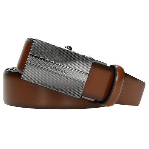 Brązowy skórzany pasek męski z pełną klamrą 93038-52