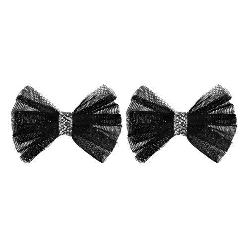 Czarne kokardki do obuwia z kryształkami Swarovskiego 98503-81
