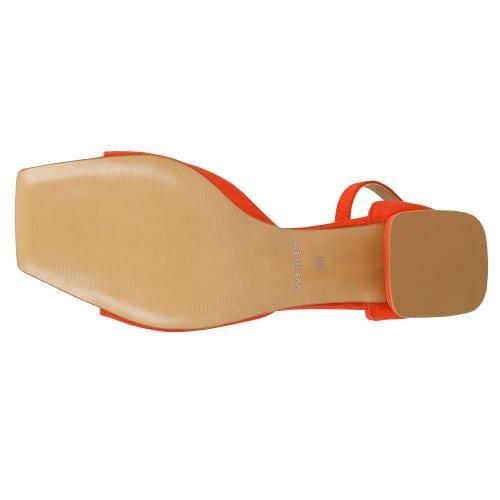 Koralowe sandały damskie na niskim obcasie 76072-65