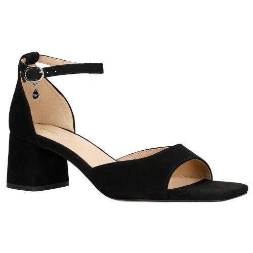 Czarne sandały damskie na niskim obcasie typu klocek 76072-61