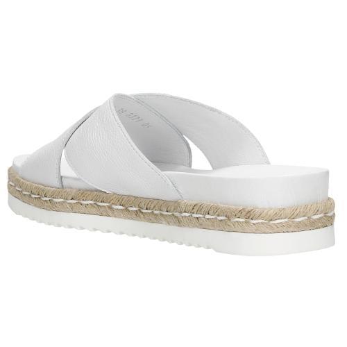 Białe klapki damskie z jutowym sznurkiem 74035-59