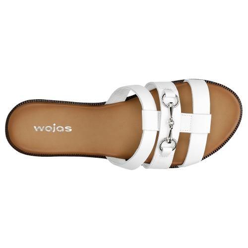 Białe klapki damskie z metalową ozdobą 74043-59