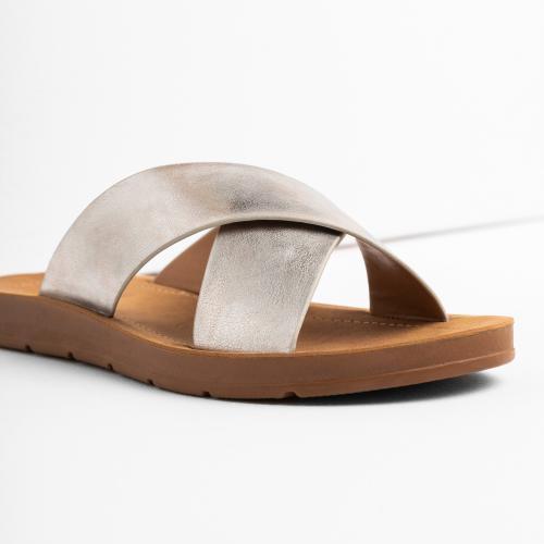 WJS srebrne klapki damskie na brązowej podeszwie WJS71010-59
