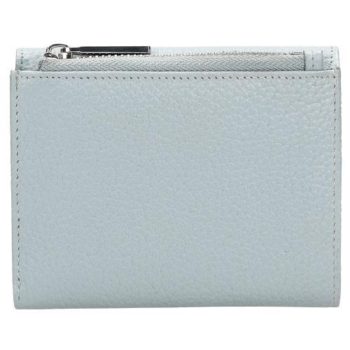 Niebieski skórzany portfel damski z metalowym logo 91017-56