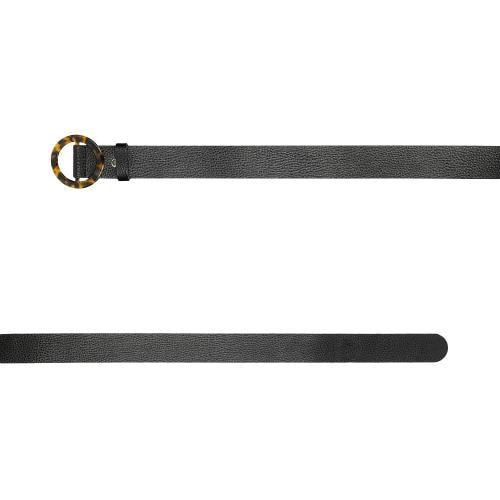 Czarny pasek damski z okrągłą klamrą 93043-51
