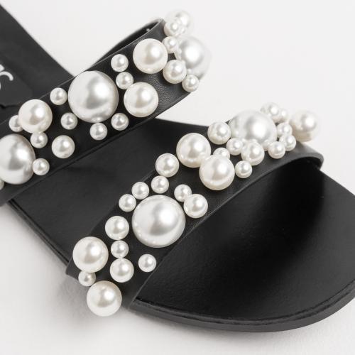 WJS czarne klapki damskie z ozdobnymi nitami na paskach WJS71020-51
