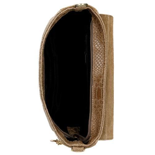 Beżowa torebka damska ze skóry licowej i weluru 80157-74