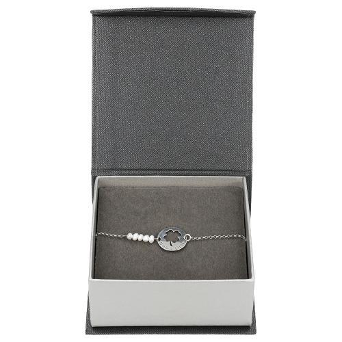 Srebrna bransoletka damska z naturalnymi perłami i motywem czterolistnej koniczyny 98909-80