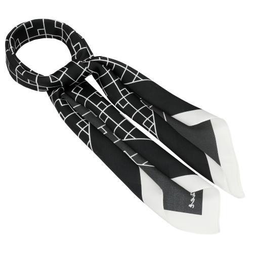 Czarna apaszka damska w białe wzory 96006-11