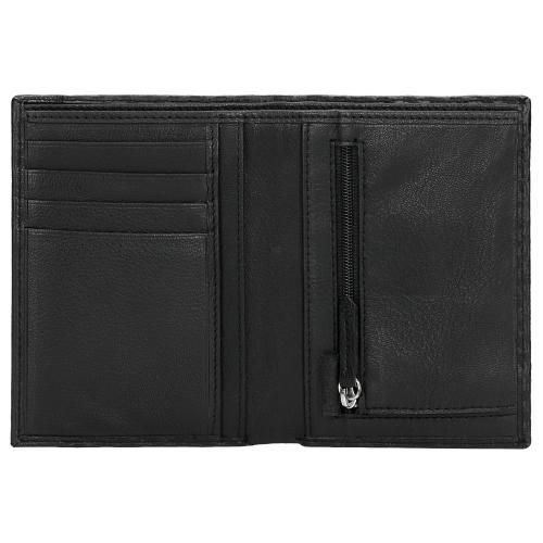 Czarny portfel męski z ozdobnym tłoczeniem 91048-51