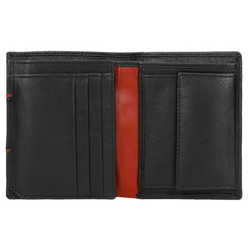 Czarny portfel męski z czerwoną lamówką 91050-51