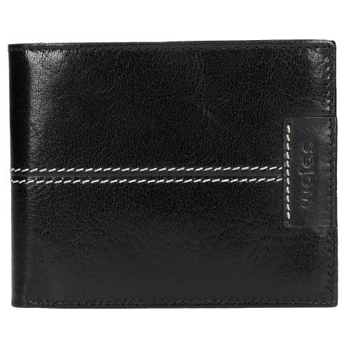 Czarny portfel męski z kontrastowym przeszyciem 91049-51