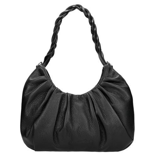 Czarna torebka damska z plecionym paskiem 80162-51