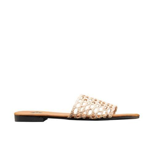 WJS beżowe klapki damskie z ażurowym paskiem WJS71018-44