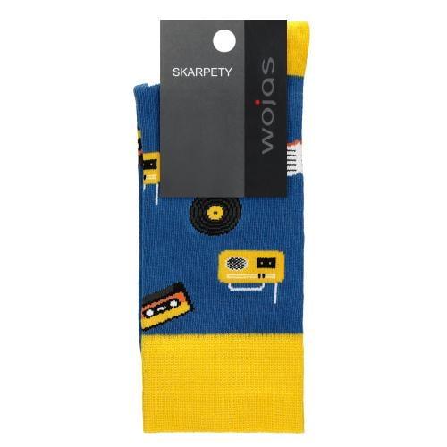 Niebiesko-żółte skarpety z motywem rozrywkowym 97030-86