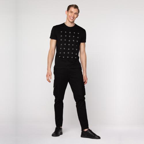 Czarna koszulka męska z logo PILAWSKI K500003-81