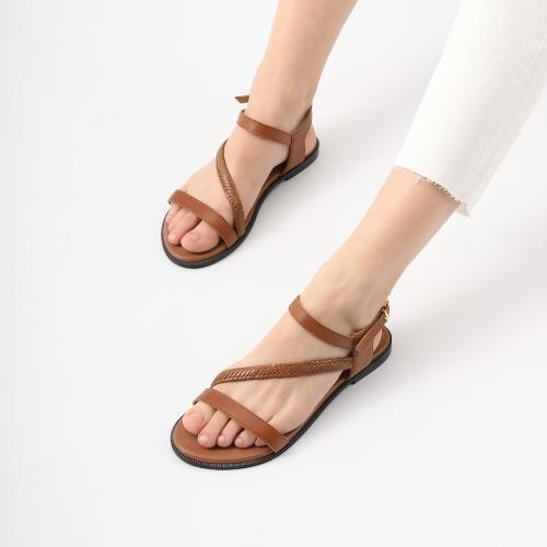 Brązowe skórzane sandały damskie na lato 76048-52