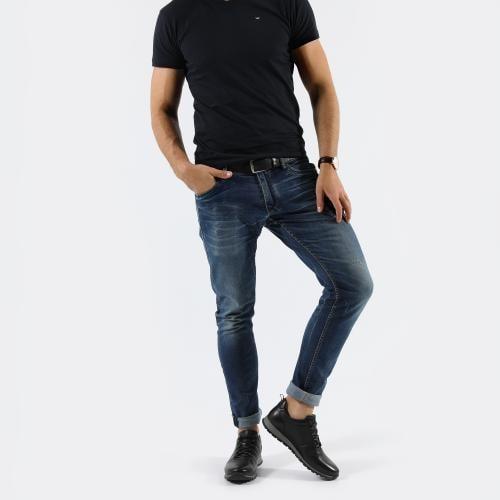 Czarne całoroczne sneakersy męskie ze skóry licowej 10039-51