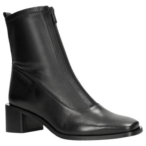 Czarne botki na słupku z zamkiem z przodu 55038-81