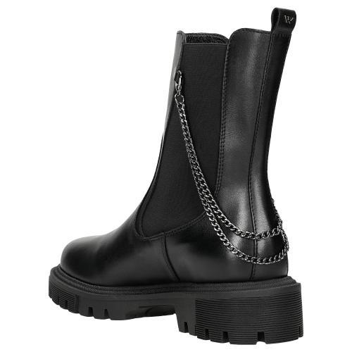 Czarne botki damskie typu sztyblety z łańcuszkiem 55064-51