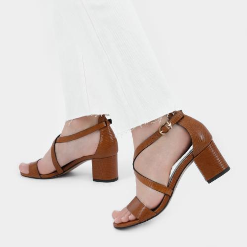 Brązowe sandały damskie na obcasie 76075-52