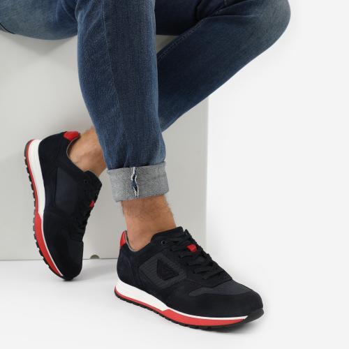 Granatowe sneakersy męskie z czerwonymi wstawkami 10095-85