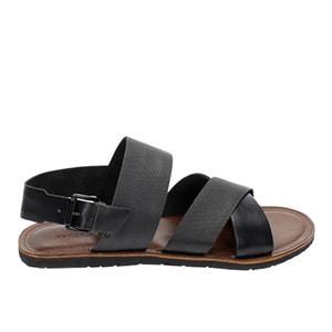 Czarne sandały męskie wykonane ze skóry naturalnej i gumy 5302-51