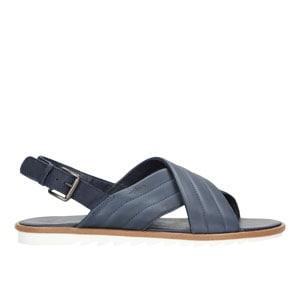Granatowe sandały męskie na białej podeszwie 7303-56