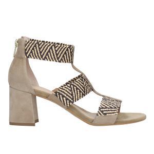Beżowe sandały damskie z plecionymi ozdobnymi paskami 76034-84