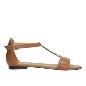 Jasnobrązowe sandały damskie ze zdobieniem na pasku 76009-53