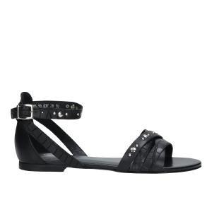 Czarne sandały damskie z zakrytą piętą i ozdobnymi paskami 76005-51